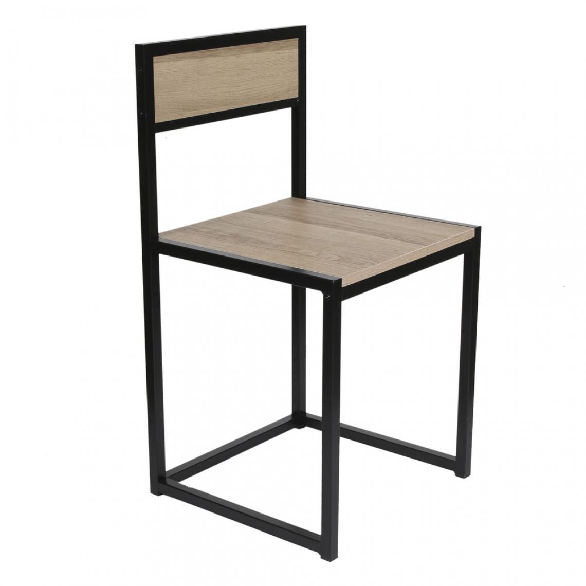 ensemble table 2 chaises noir et bois durban