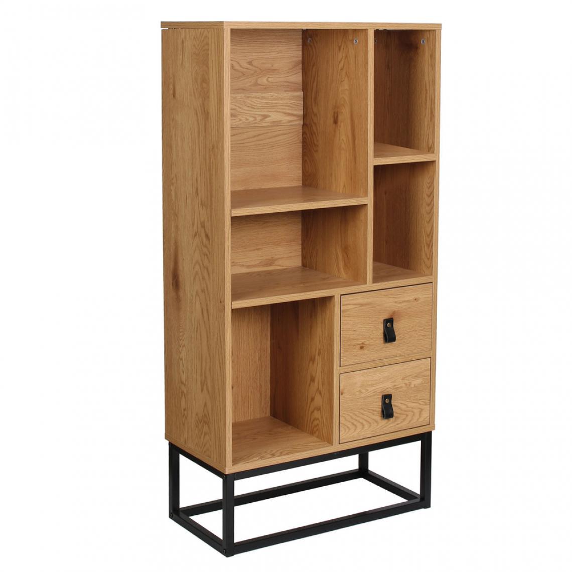 bibliotheque industrielle bois et metal selma