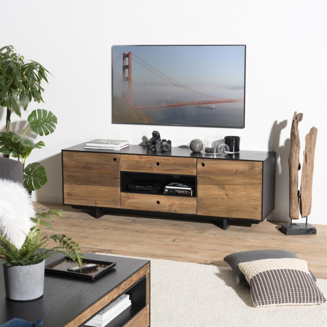 meuble tv 2 portes 2 tiroirs 1 niche pin recycle danido