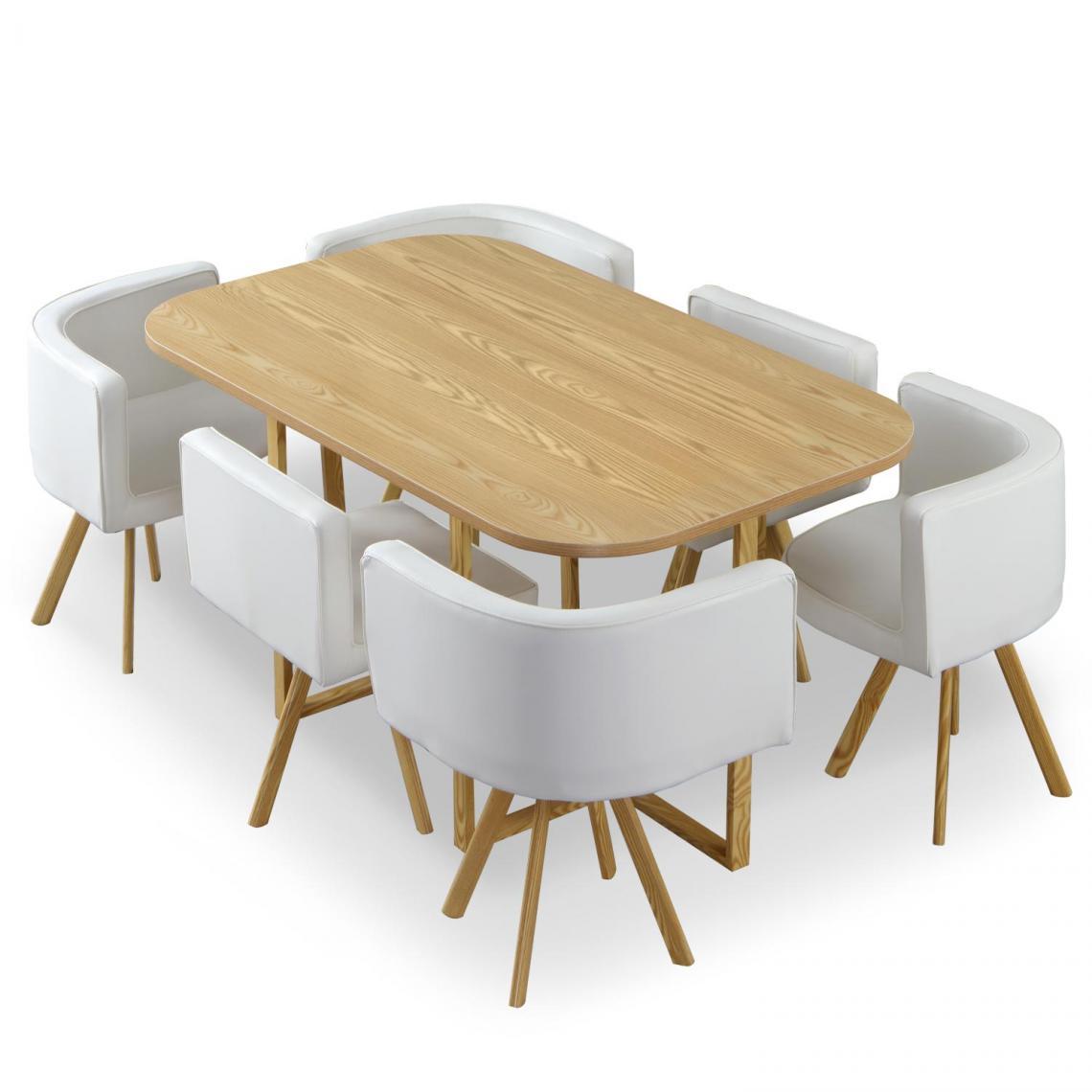 table et chaises chene et simili blanc branco