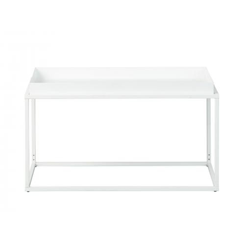 table basse empilable en metal laque blanc tista