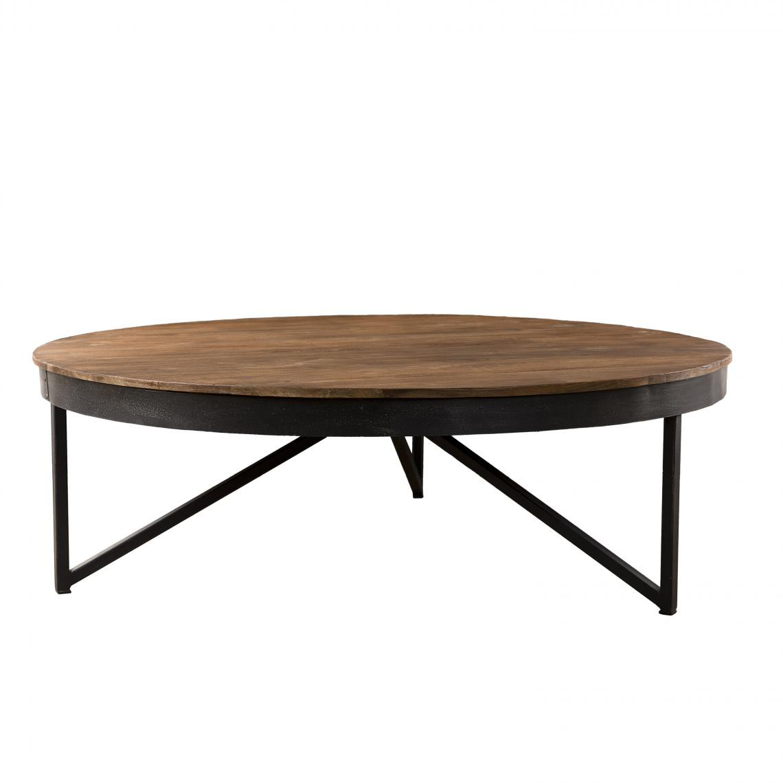 table basse ronde bois de teck recycle pieds metal siana