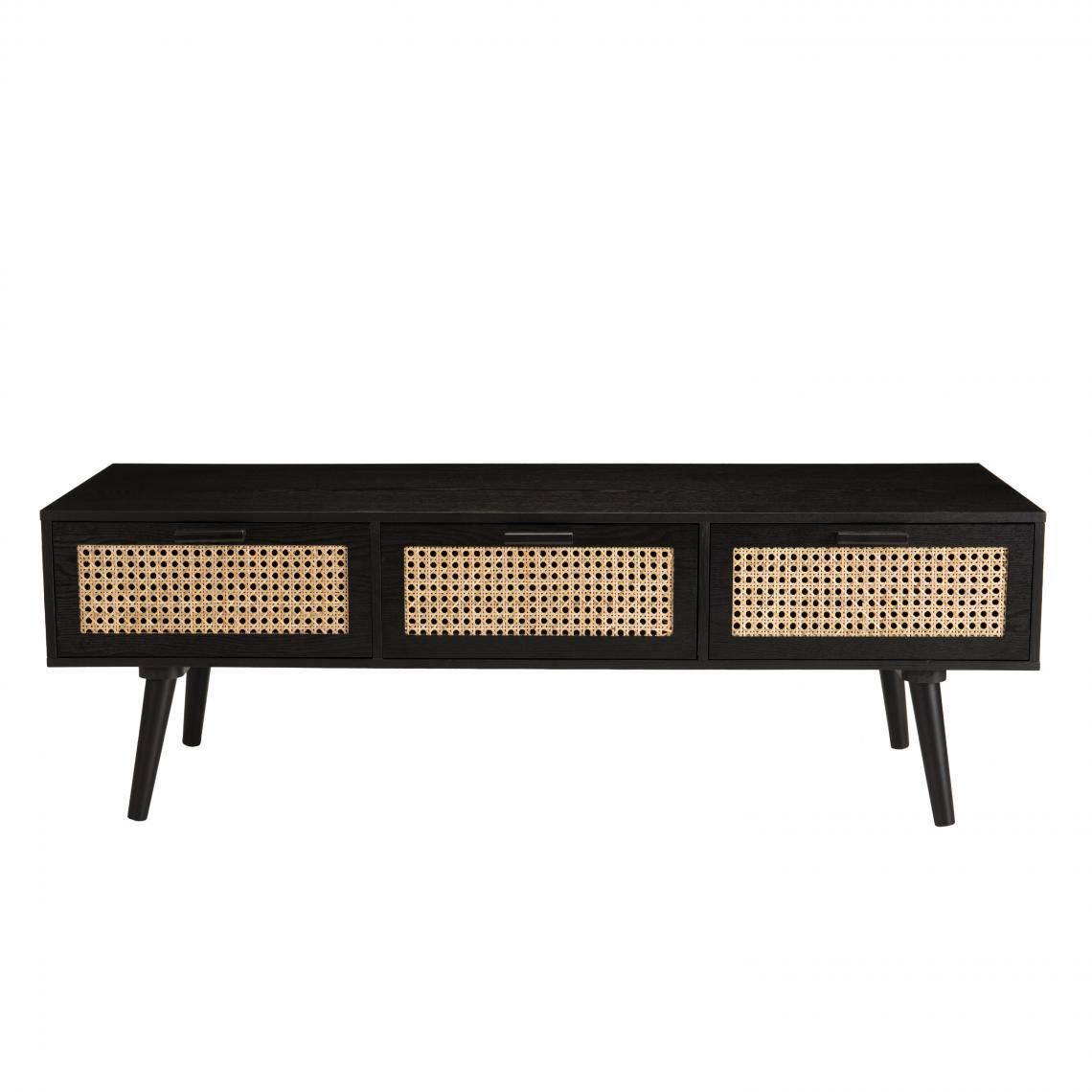 meuble tv noir 3 tiroirs cannage miguel