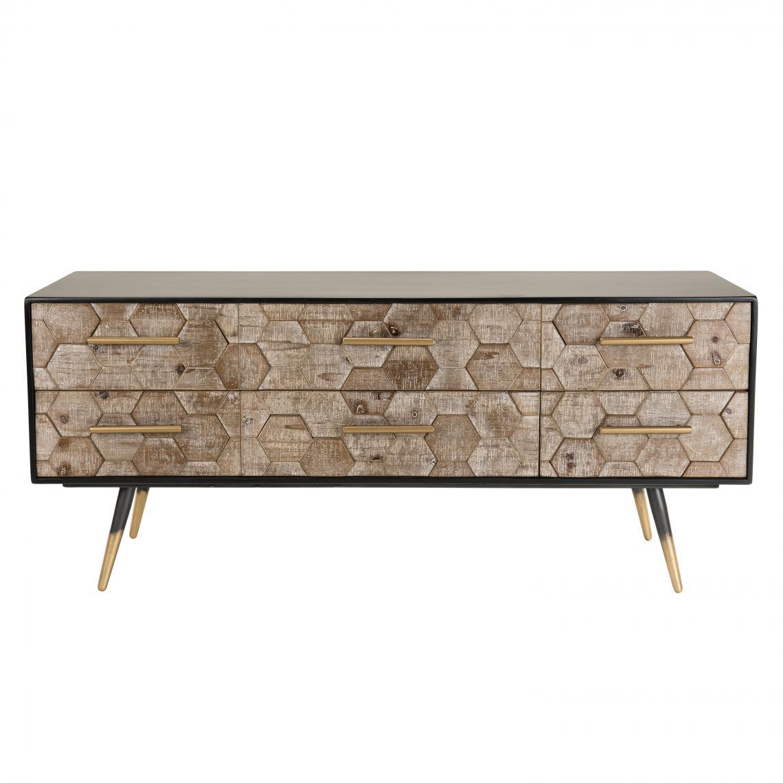meuble tv scandinave 6 tiroirs en sapin pieds metal deborah