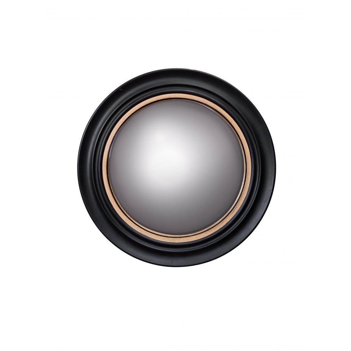 miroir rond en bois noir et dore bonae 43 cm