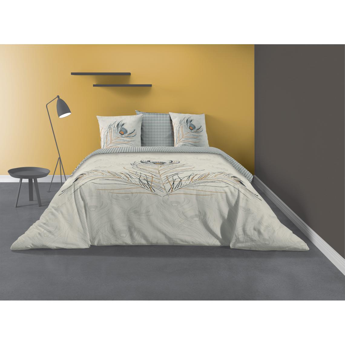 parure de lit 2 personnes fazia avec housse de couette et taies d oreiller imprime