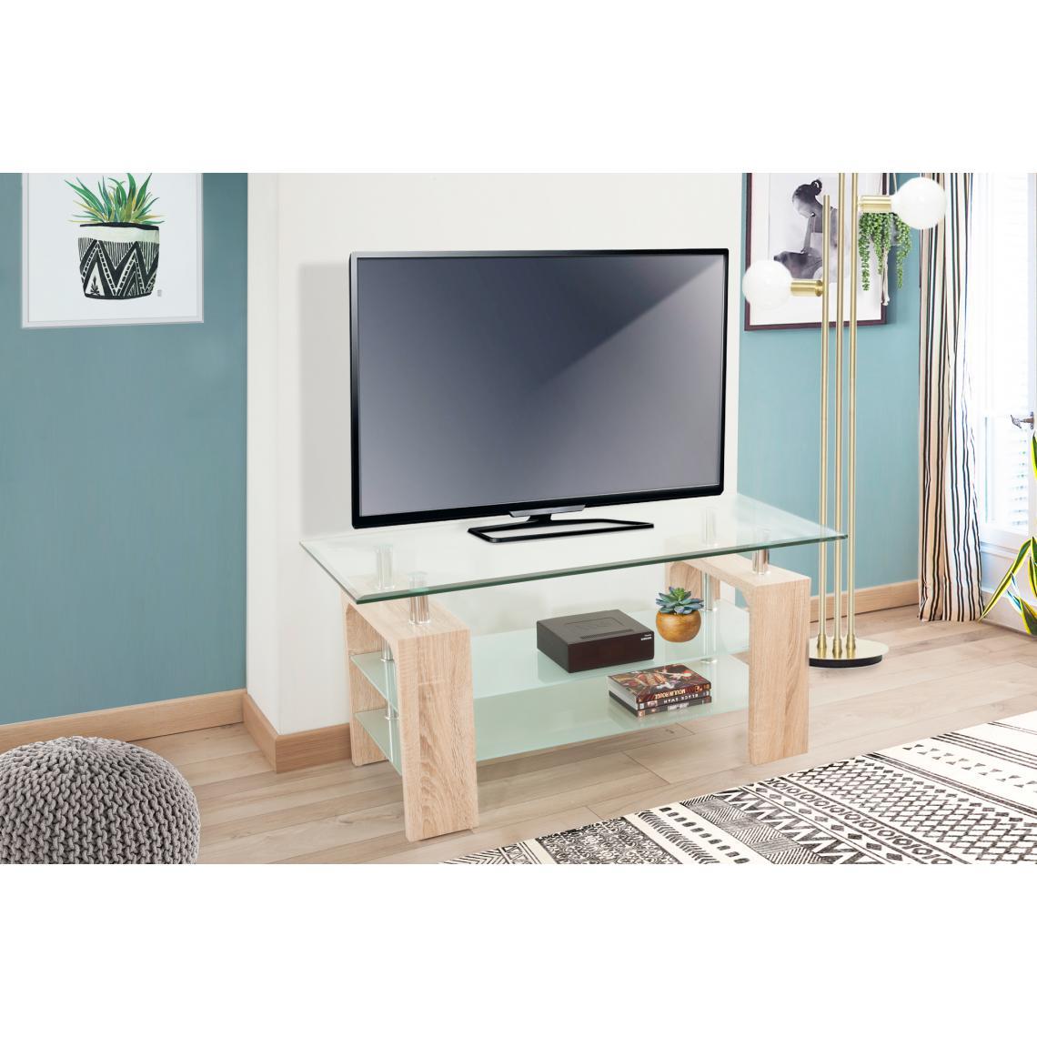meuble en tv en verre transparent