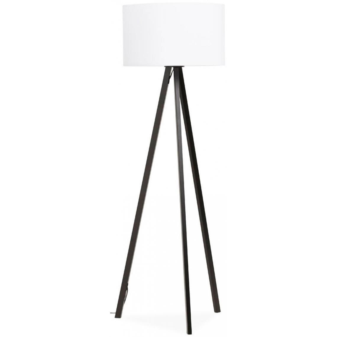 lampadaire trepied blanc pietement metal noir trivaga
