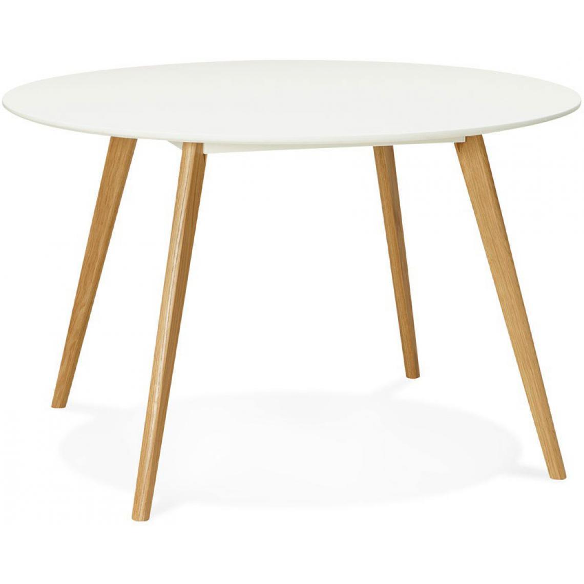 table a manger ronde blanche pieds bois camsou
