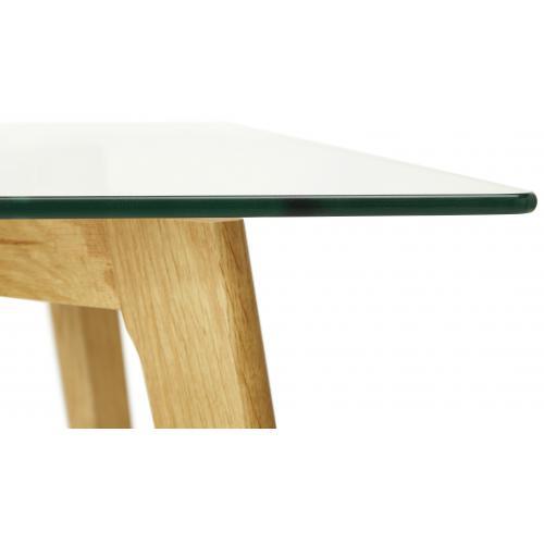 table a manger rectangulaire avec plateau en verre pieds bois fiord