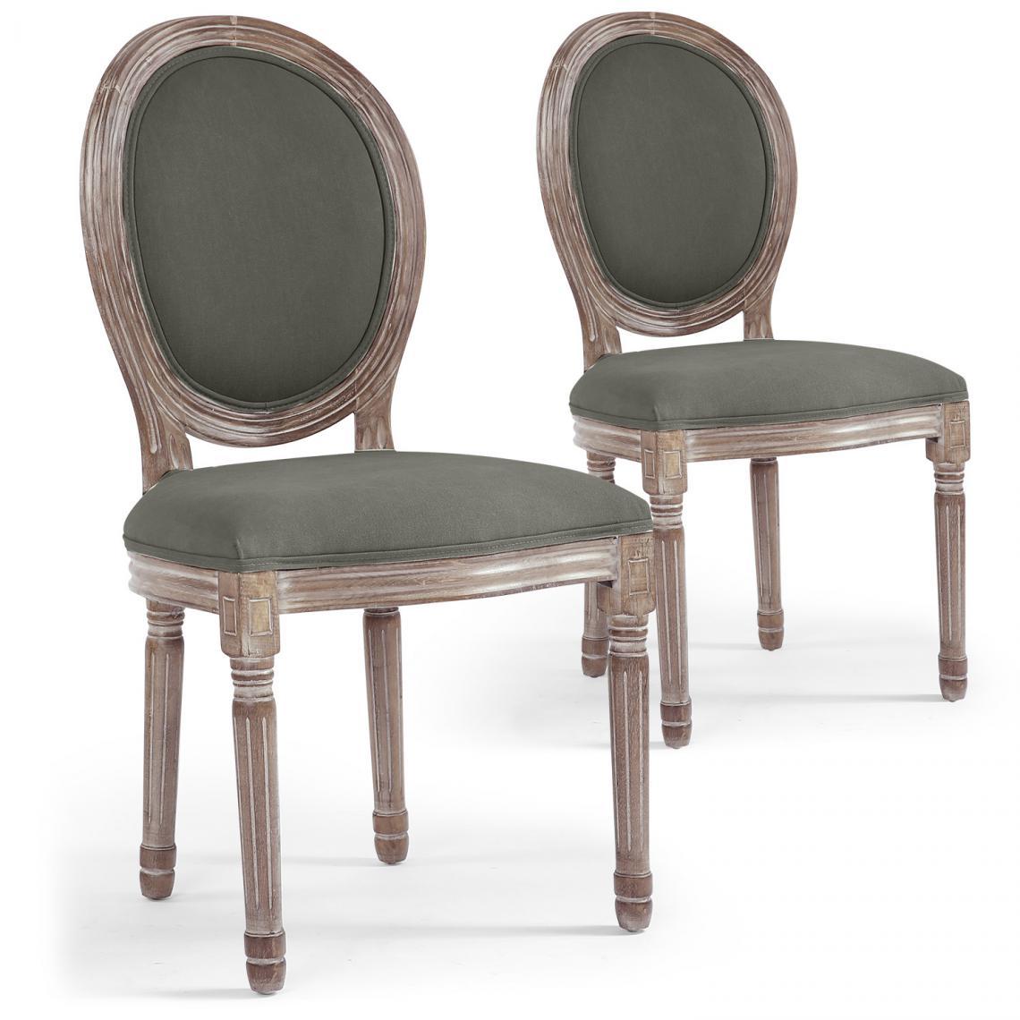 lot de 2 chaises medaillon tissu gris versailles