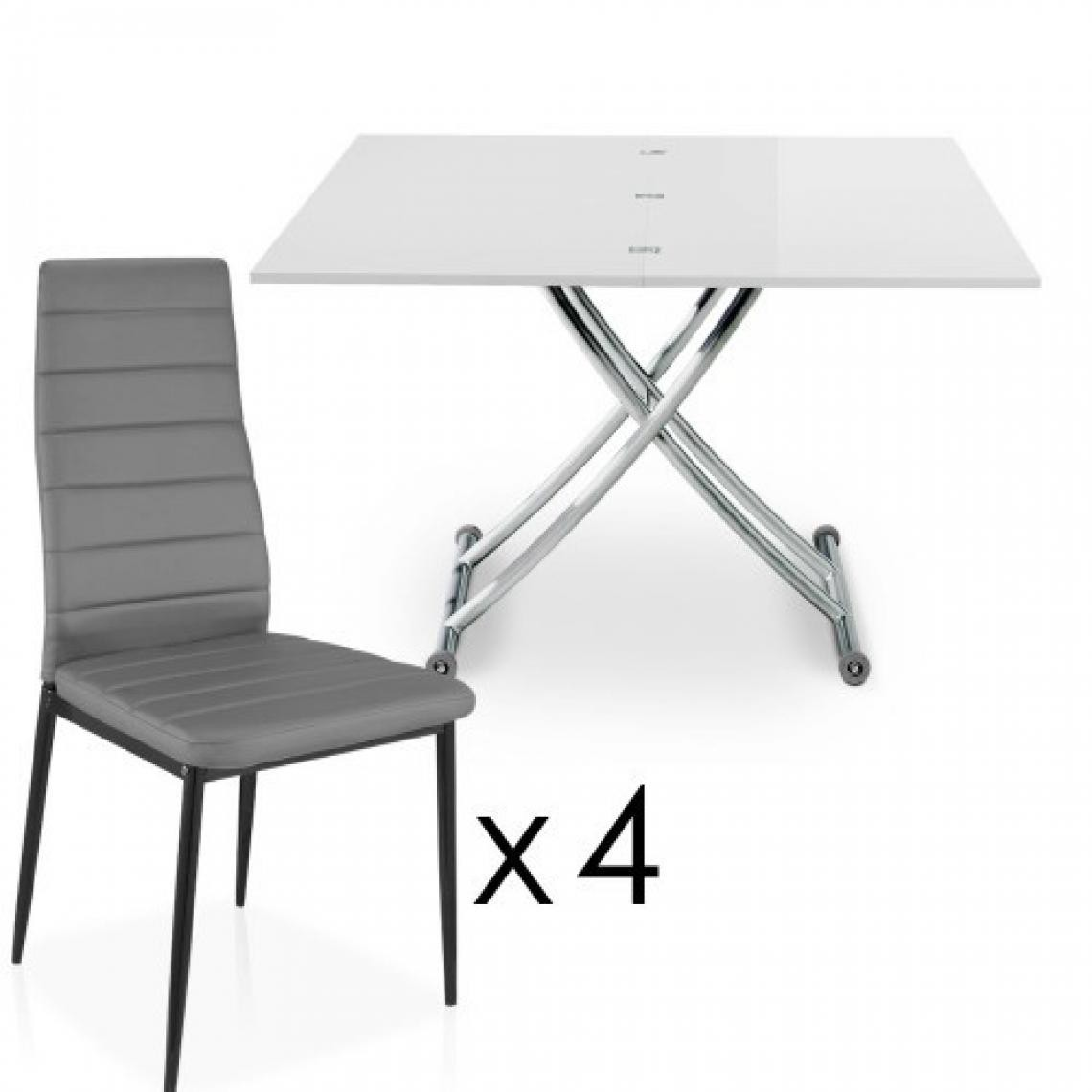 table basse relevable a rallonges blanche 4 chaises grise bella