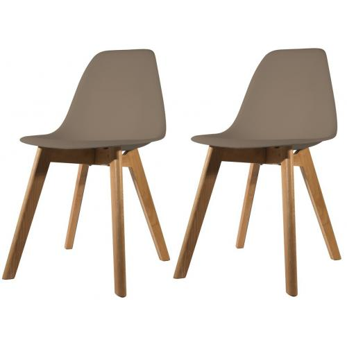 lot de 2 chaises scandinave coque taupe fjord