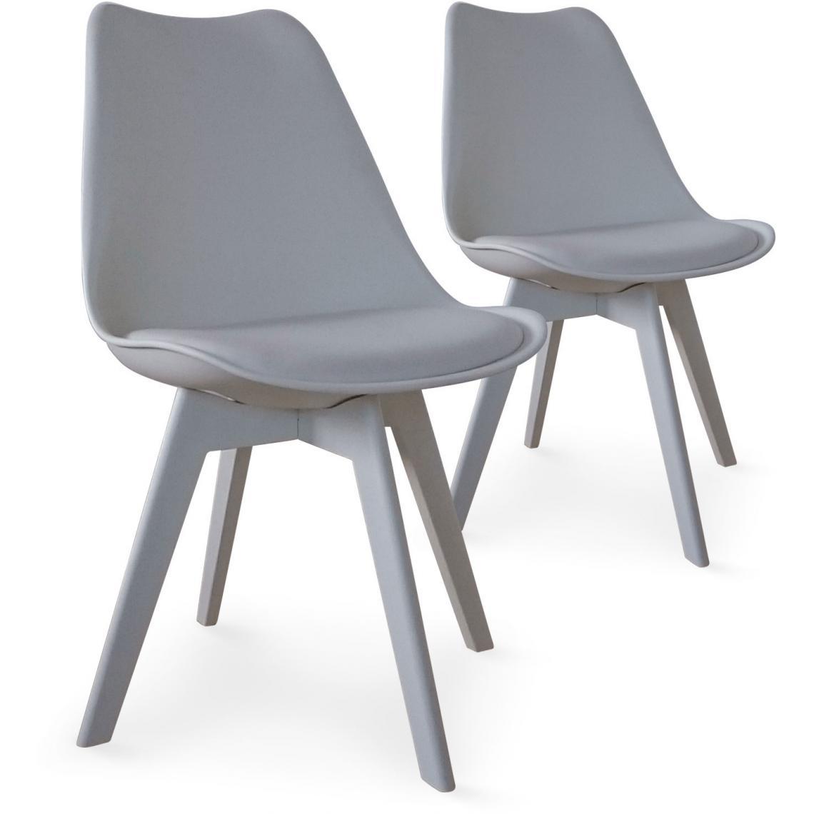 lot de 2 chaises scandinaves grises nira