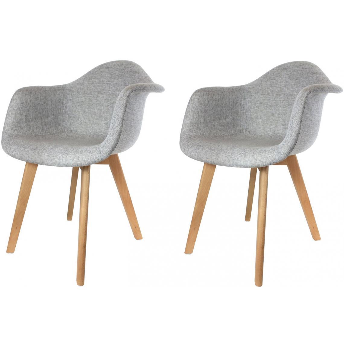 lot de 2 chaises scandinaves avec accoudoir tissu grises fjord