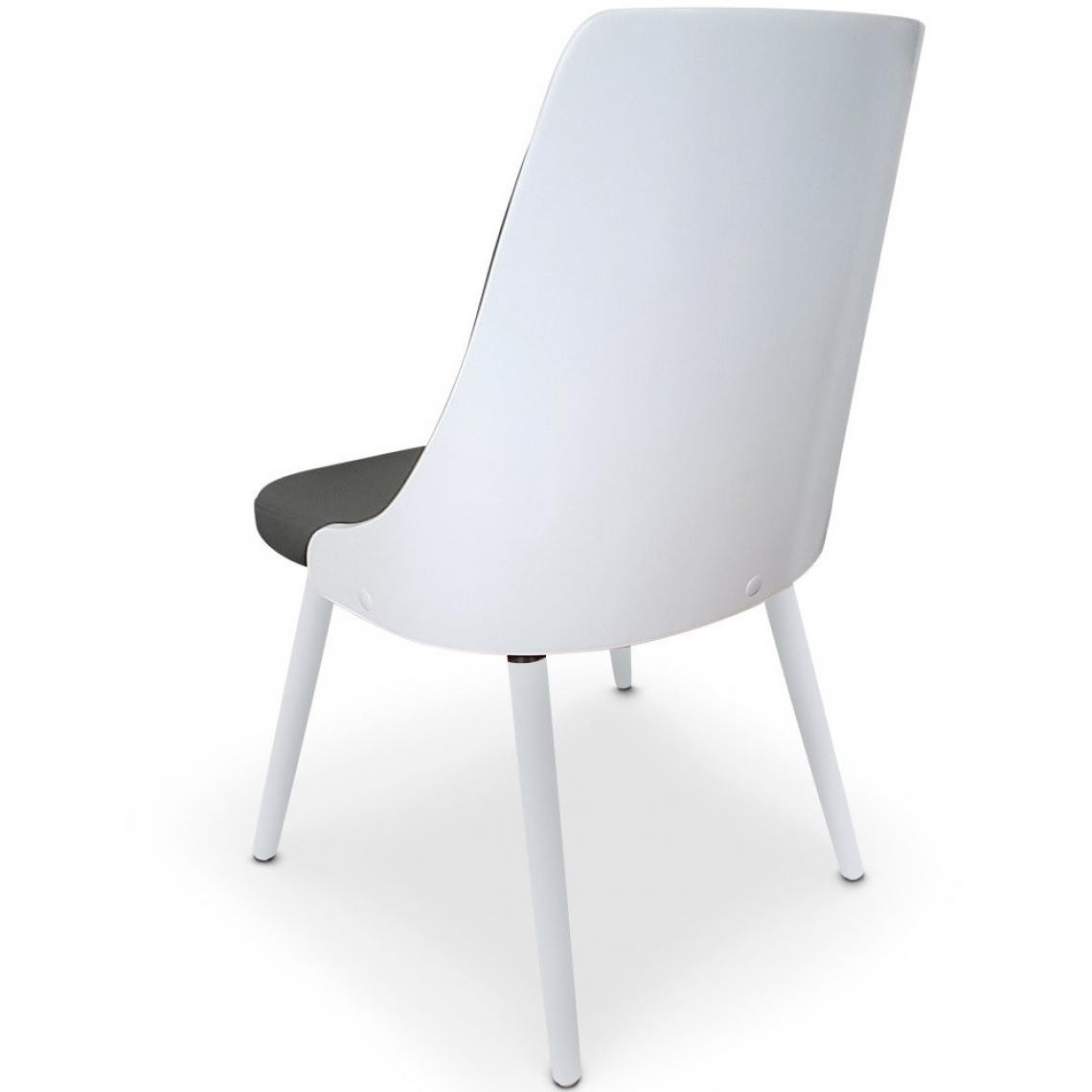 lot de 2 chaises scandinave blanc et gris hadra
