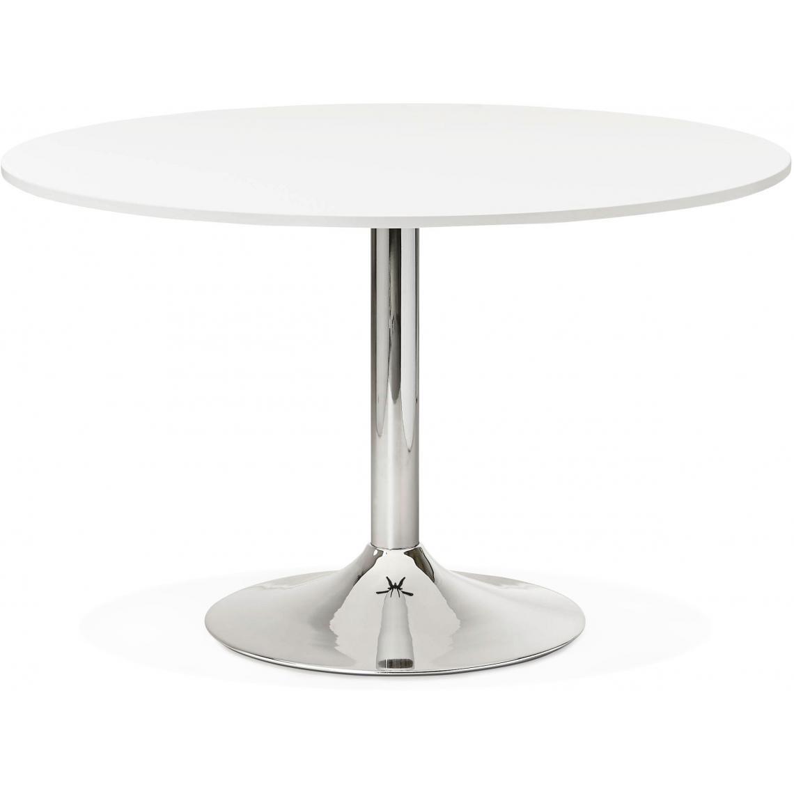 table ronde avec plateau en bois blanc et pied en metal addison