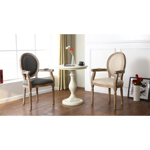 lot de 2 chaises medaillon style louis xvi tissu beige honore