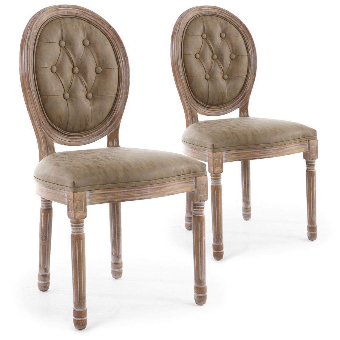 lot de 2 chaises medaillon capitonnees bois patine taupe vinci