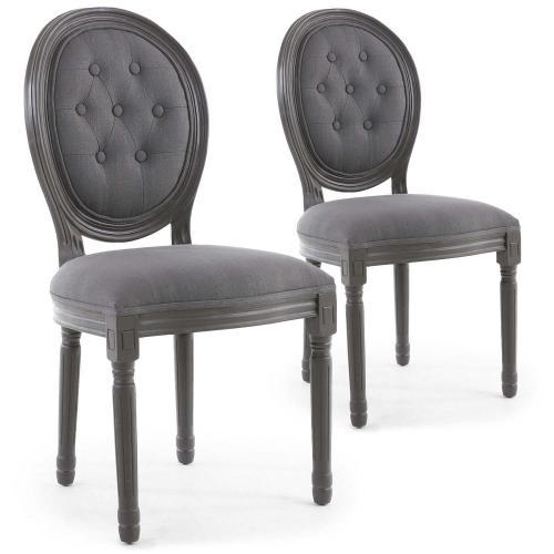 lot de 2 chaises medaillon bois gris et tissu capitonne gris vinci