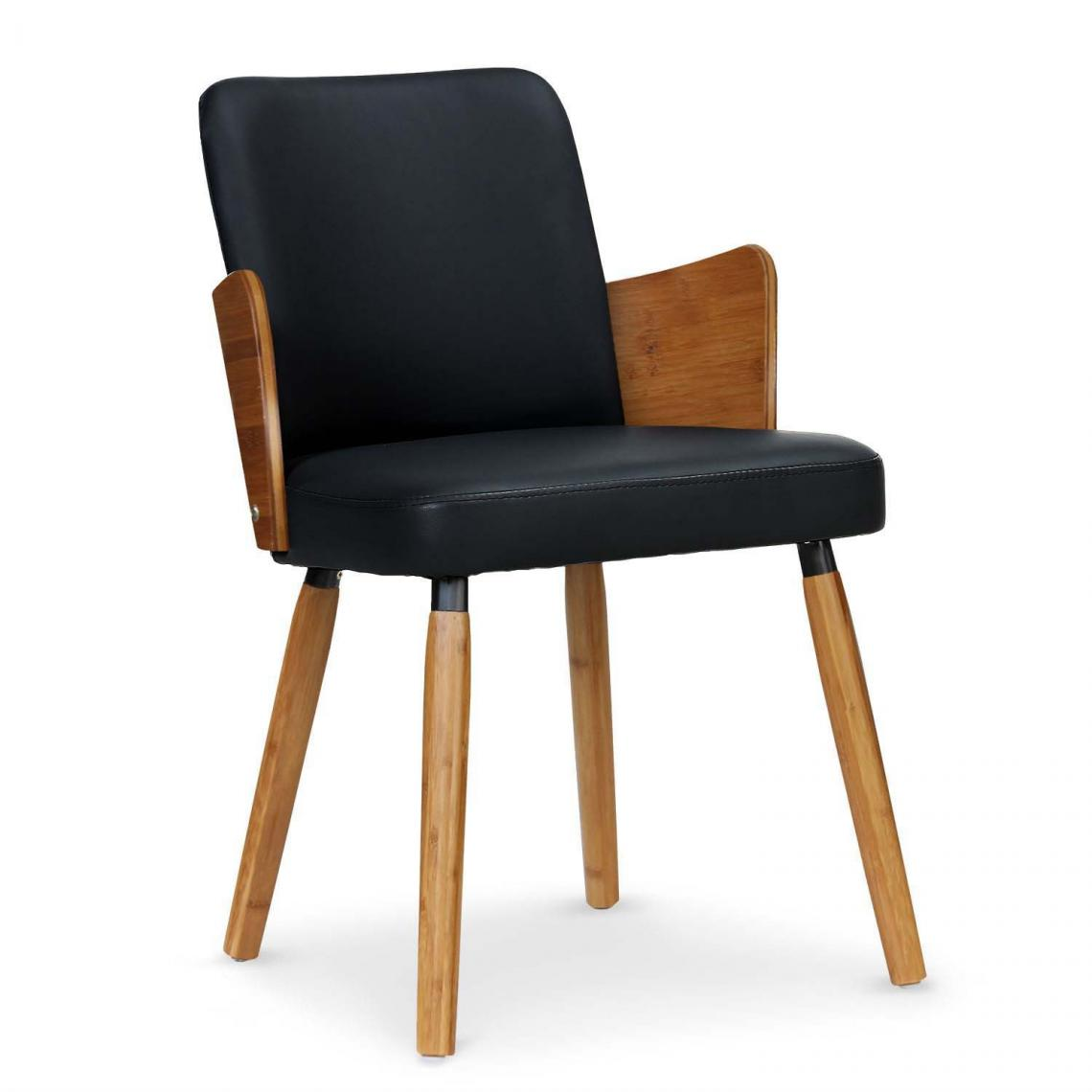 lot de 2 chaises scandinaves bois et noir phibie