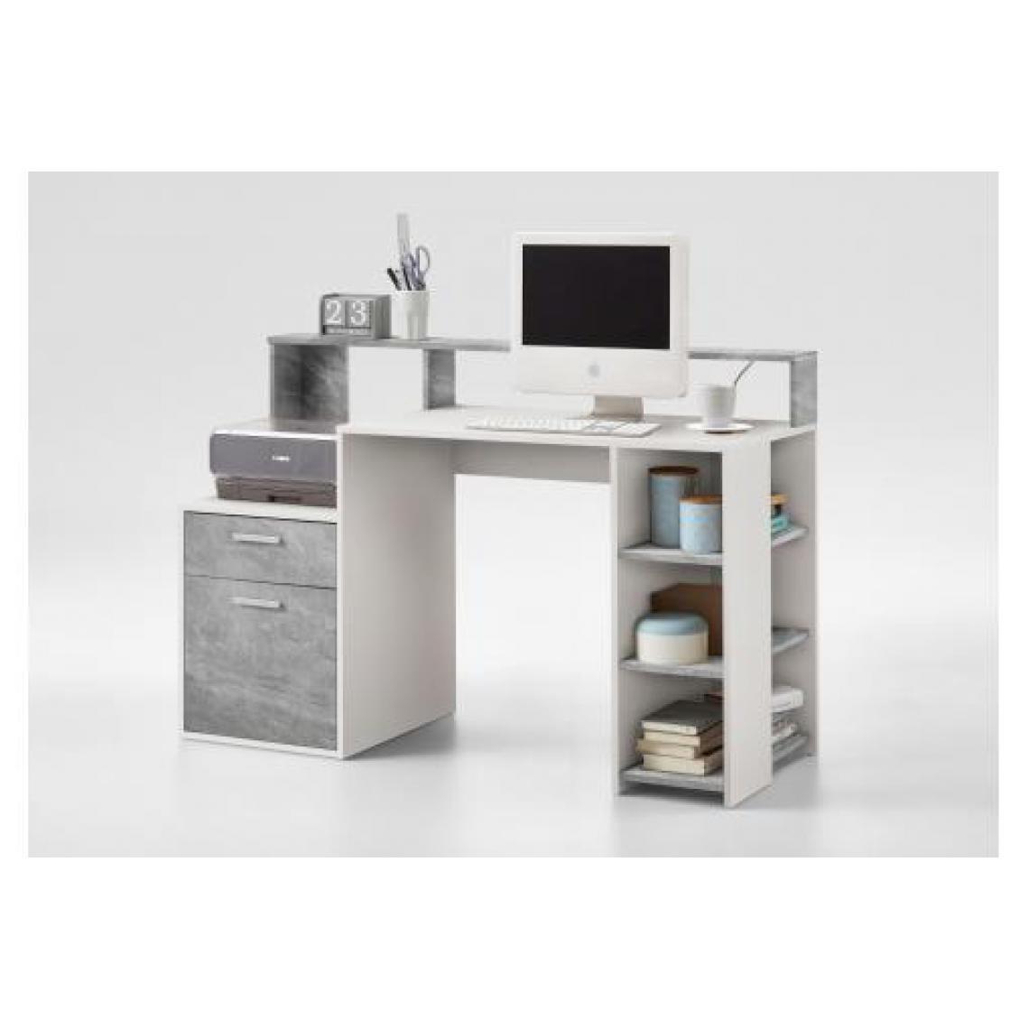 bureau gris beton blanc blurn
