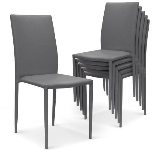 lot de 6 chaises empilables gris praia