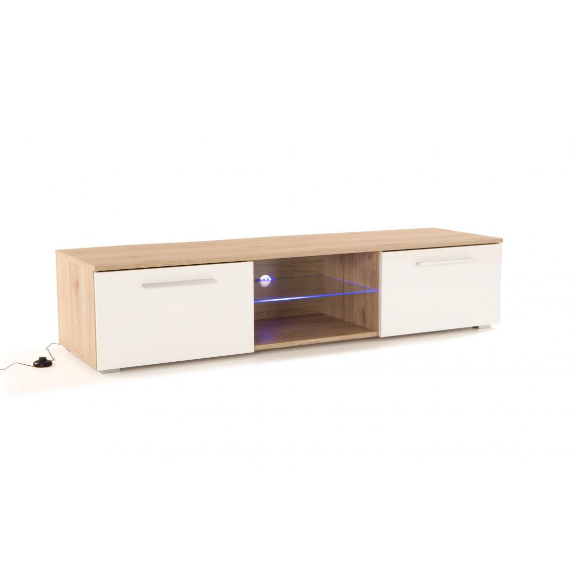 meuble tv led integree chene naturel blanc salto