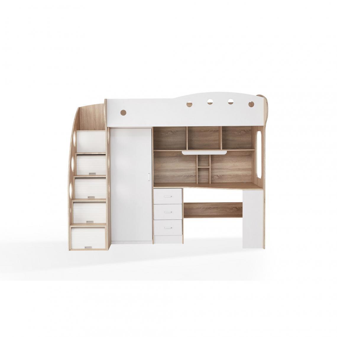 lit combine avec bureau et penderie integres vila blanc et bois
