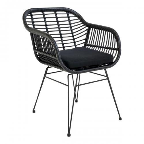 chaise trieste noir avec coussin