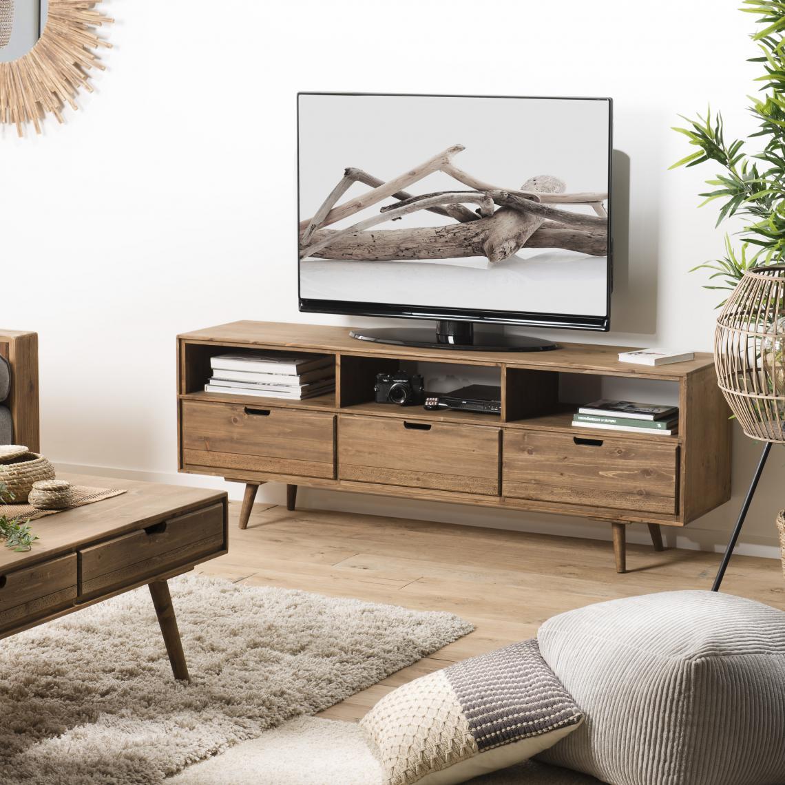 meuble tv andy scandi bois 3 tiroirs 3 niches sapin