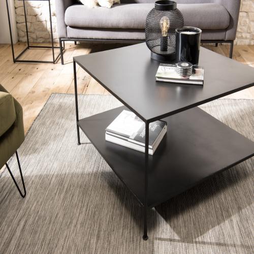 table basse romain carree metal industrielle