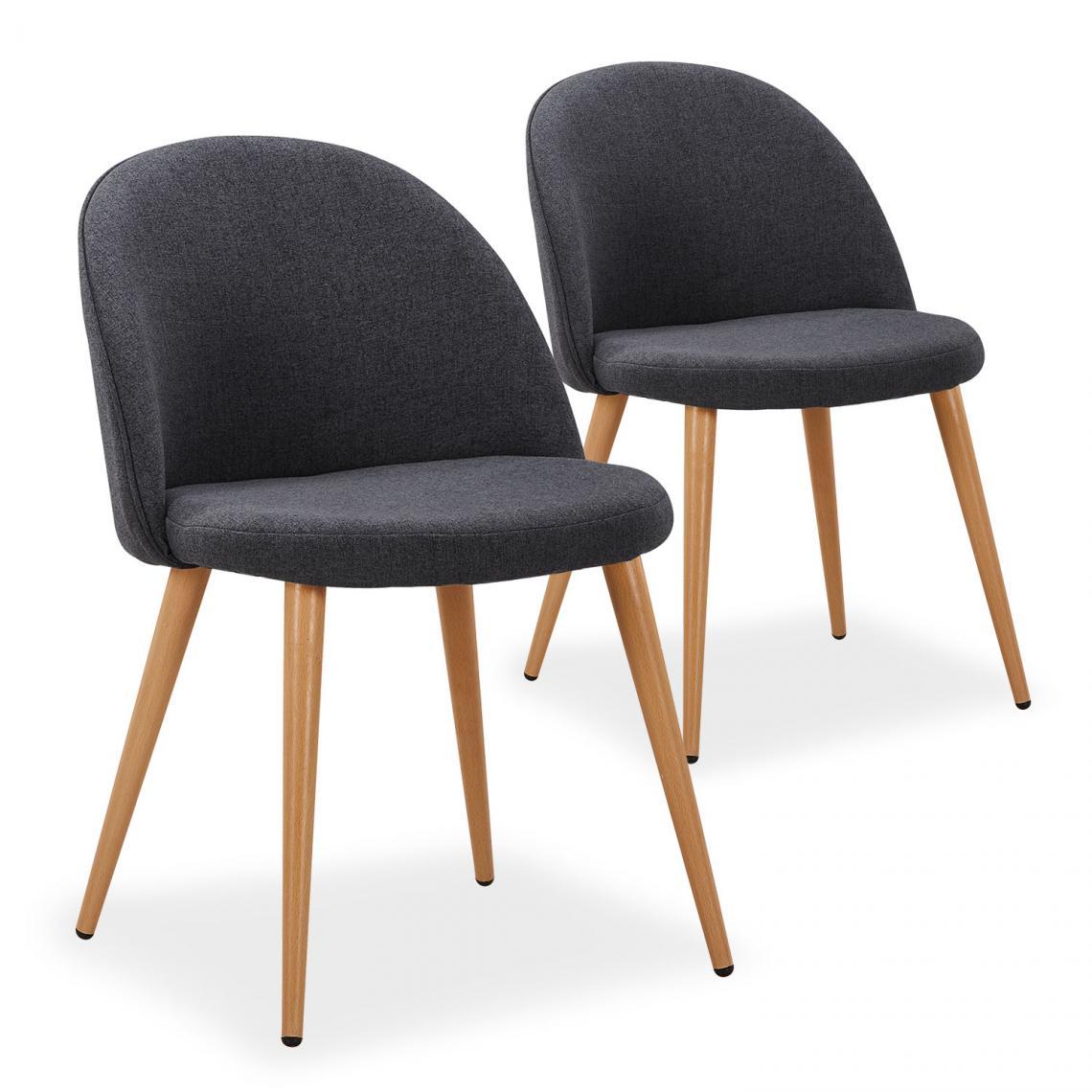 lot de 2 chaises scandinaves maury tissu gris fonce