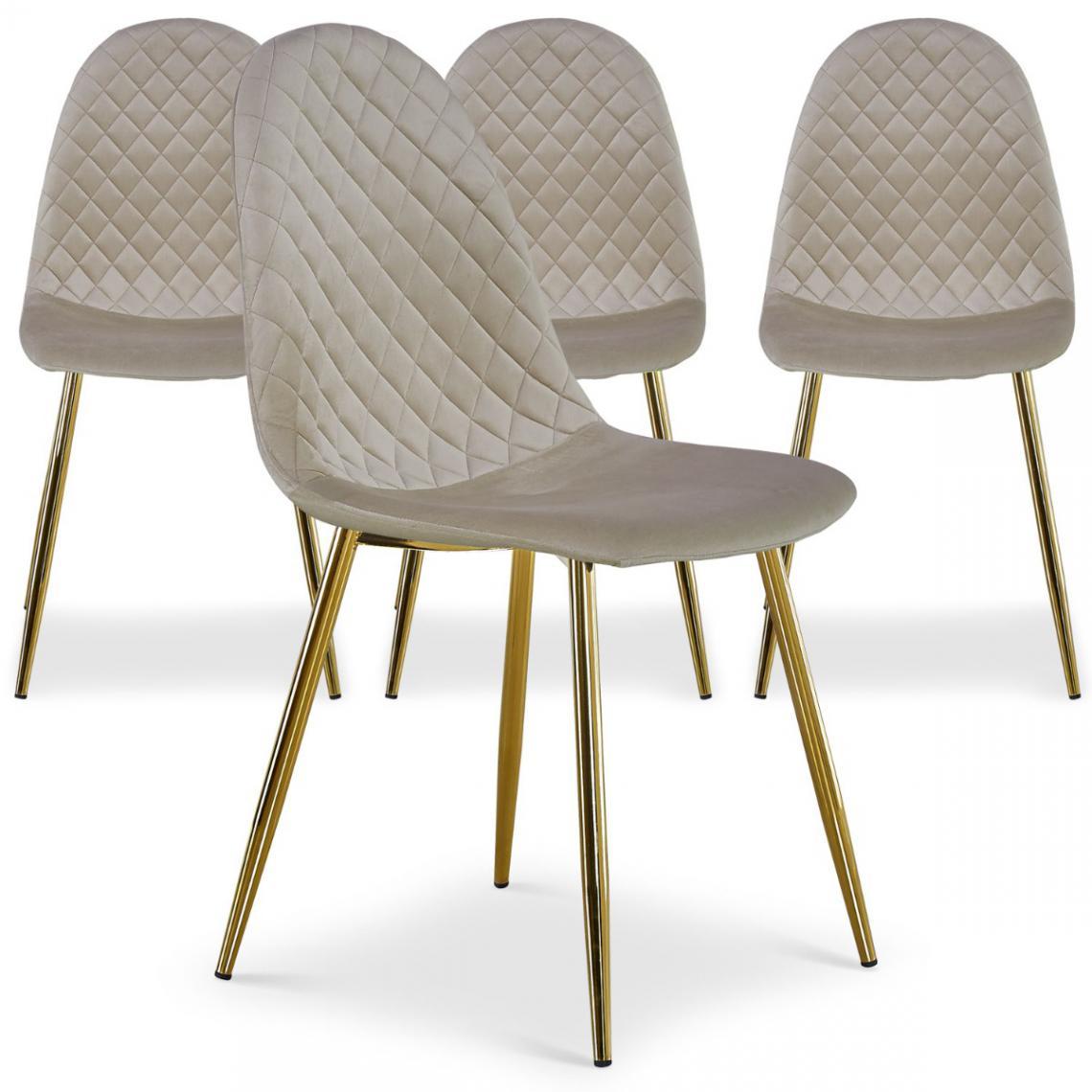 lot de 4 chaises matelassees norway velours taupe