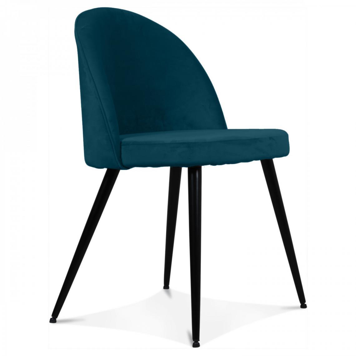 chaise tissu bleu canard braily