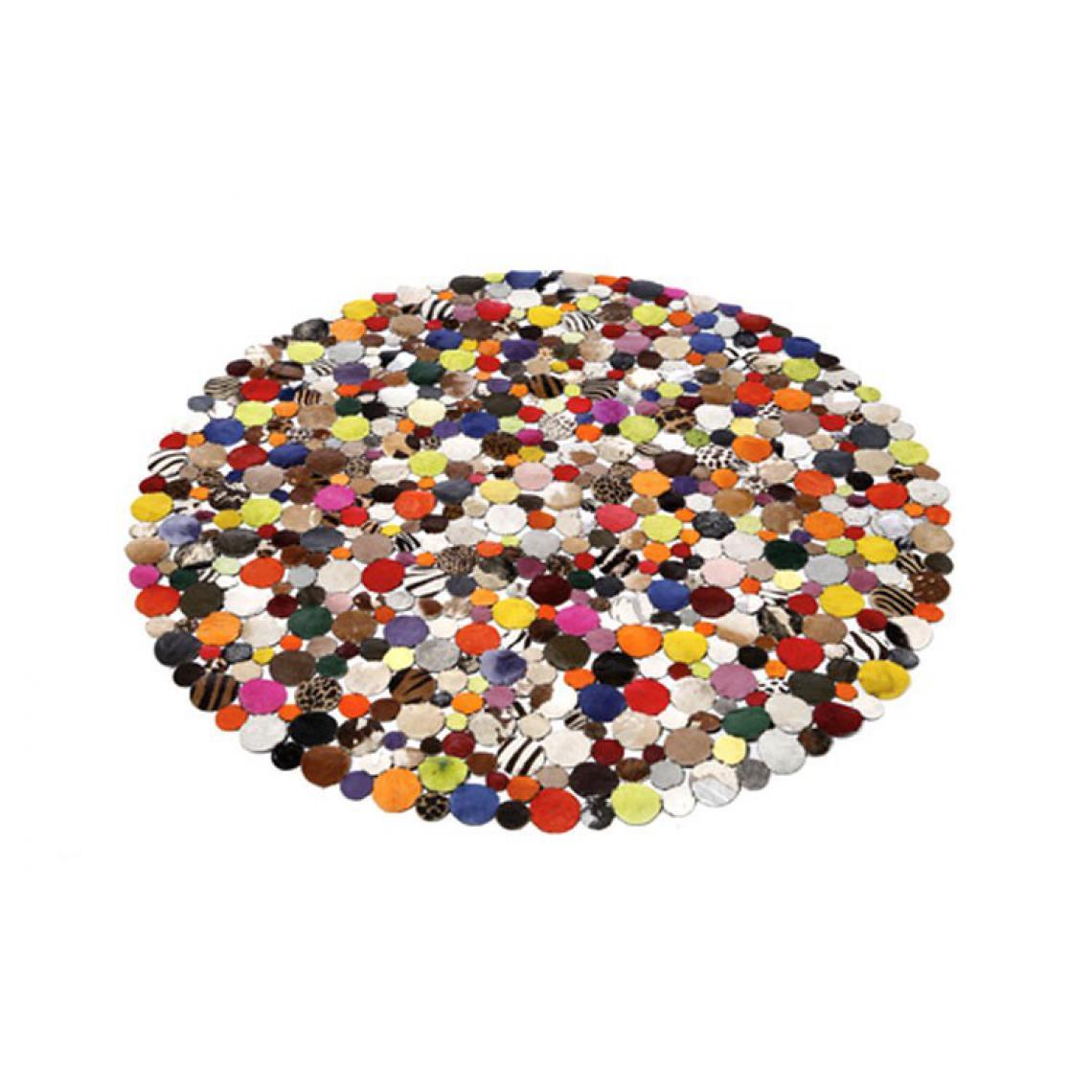 tapis rond en cuir multicolore 150x150
