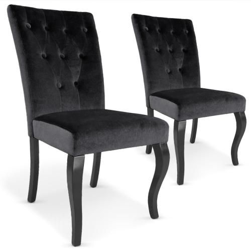 lot de 2 chaises capitonnees velours noir baroque kaolack