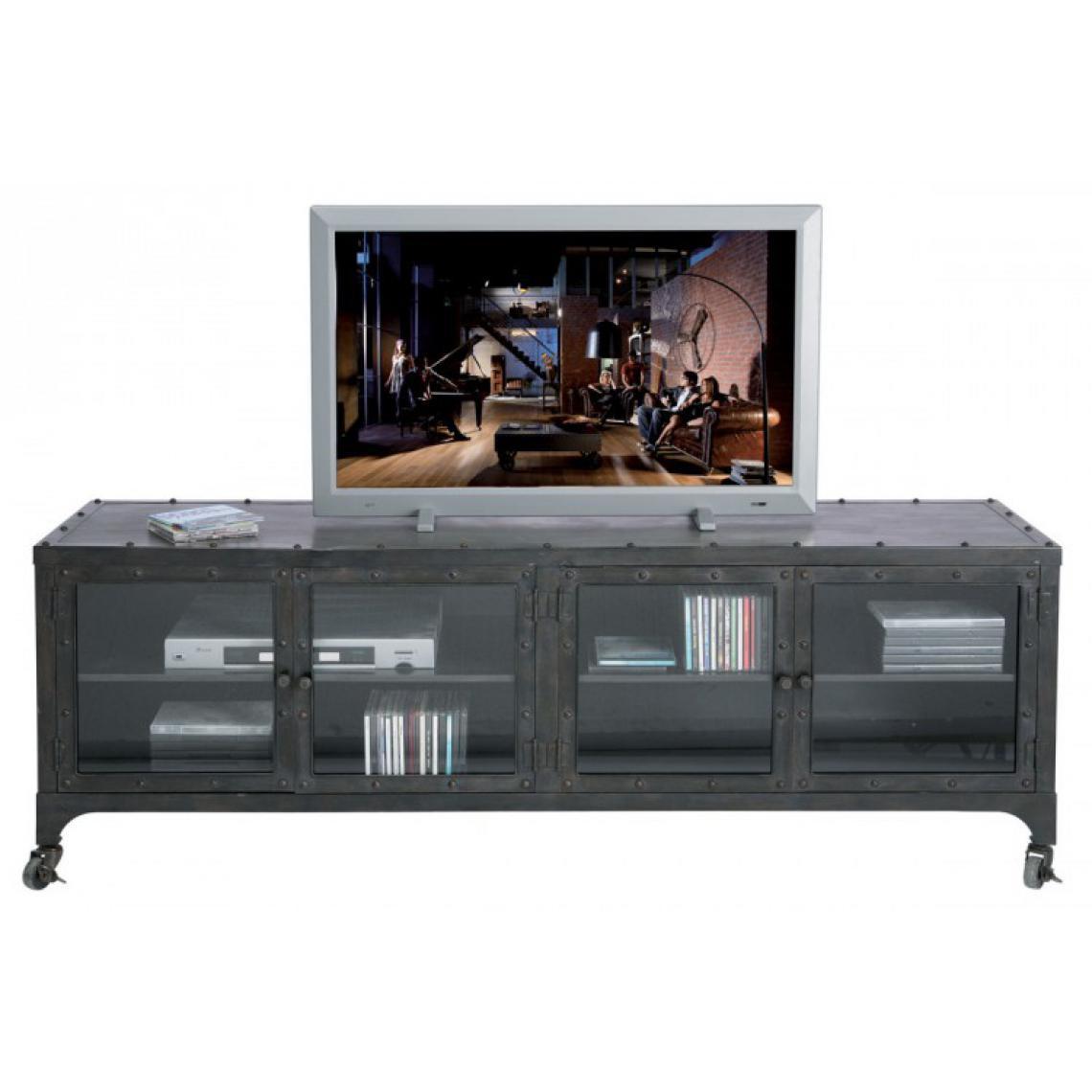 meuble tv factory en metal gris anthracite style industriel