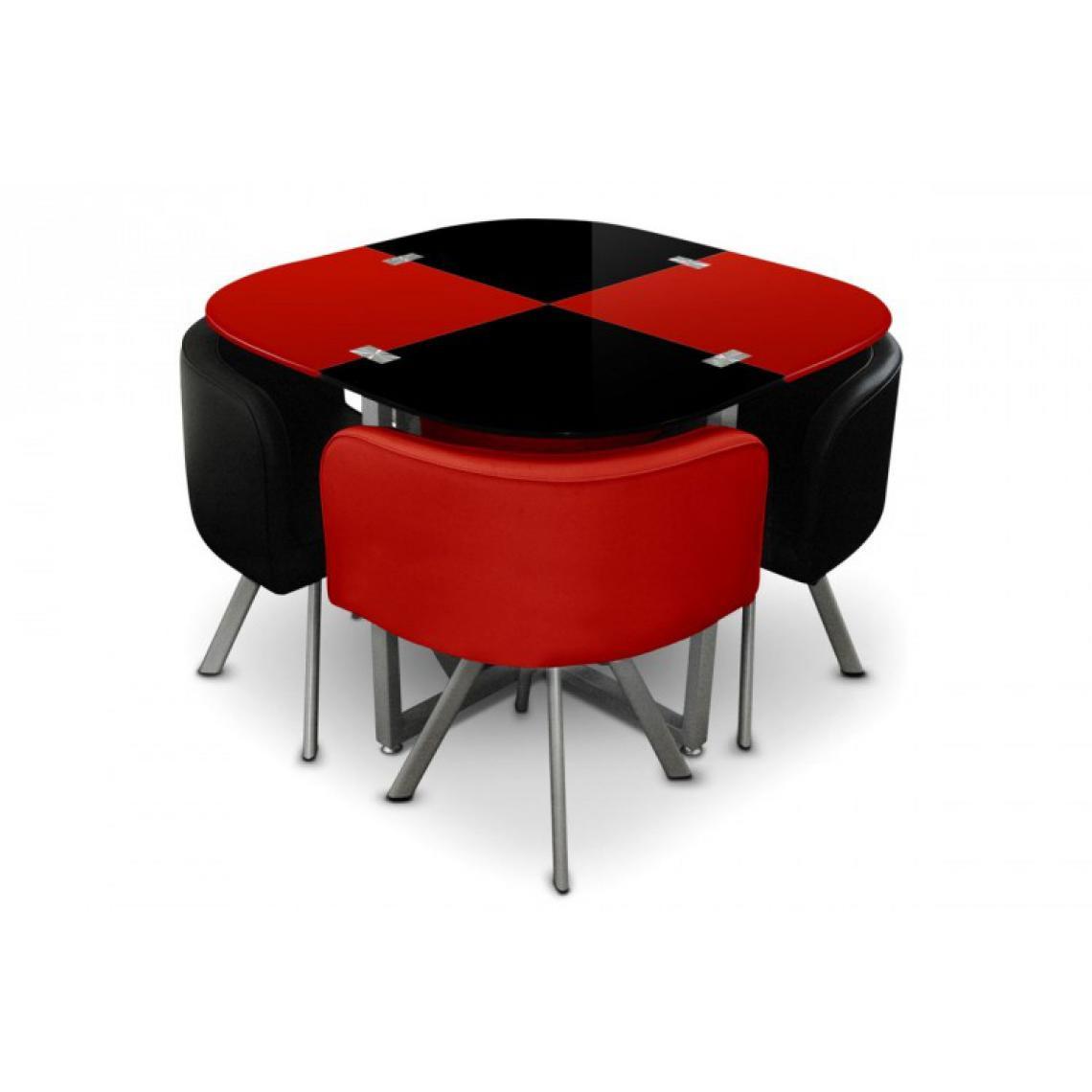 table repas damier avec 4 chaises rouge et noir