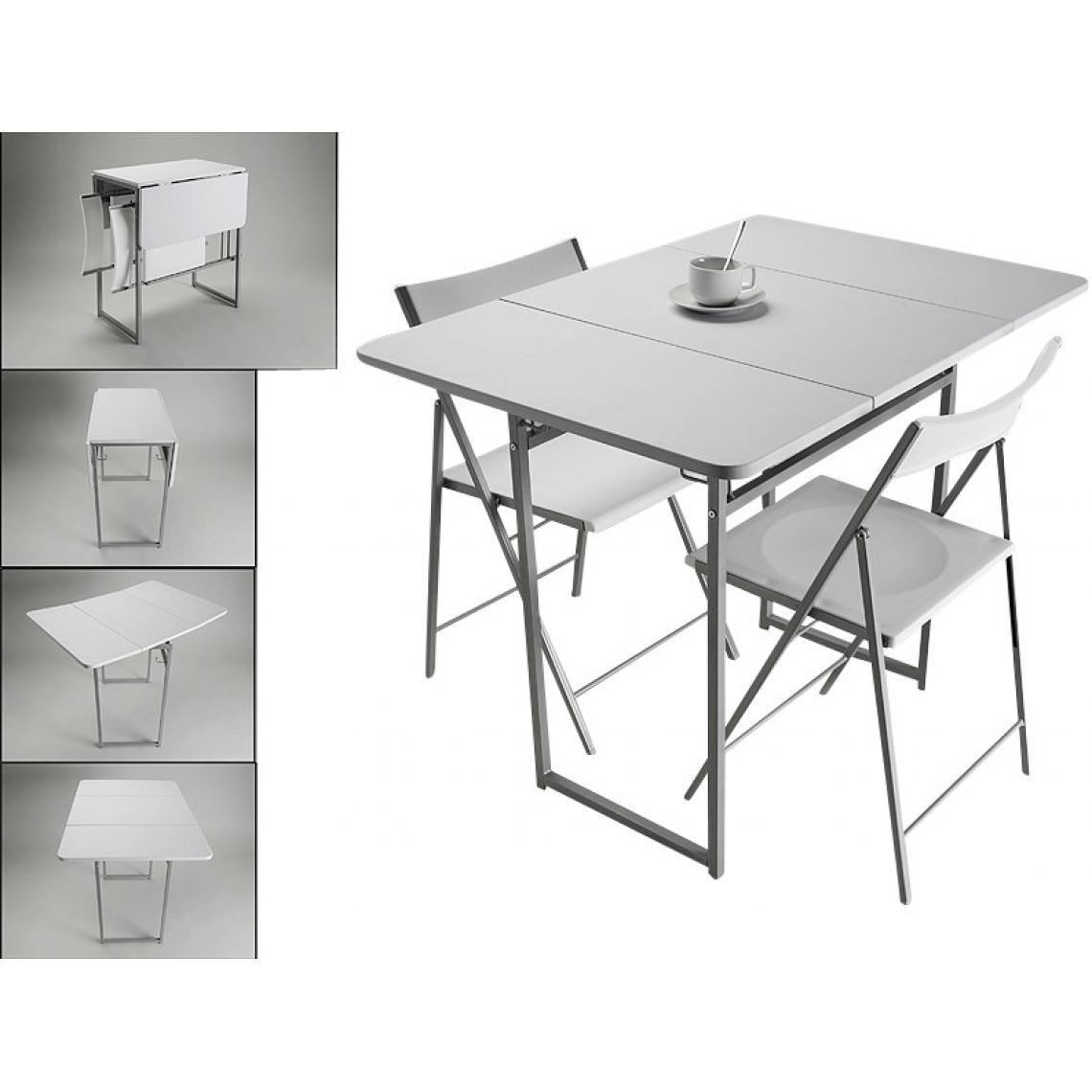 table pliante et 2 chaises blanches en bois kingston