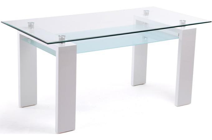 table rectangulaire plateau en verre blanche