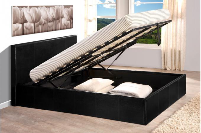 Lit Coffre 140x190 Noir Avec Sommier Lit Design Pas Cher