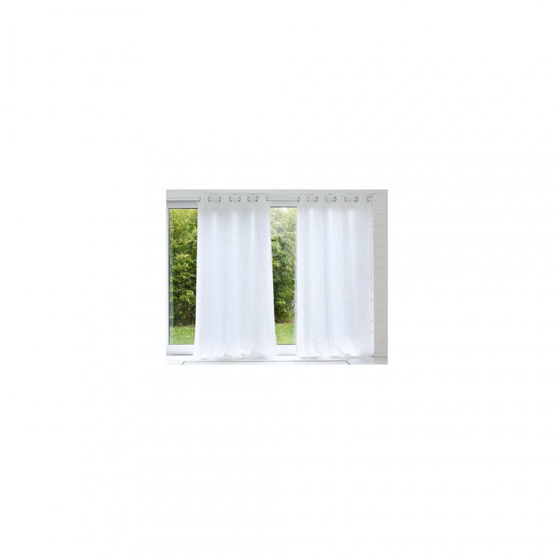 rideau uni lin lave qualite lourde blancvoir