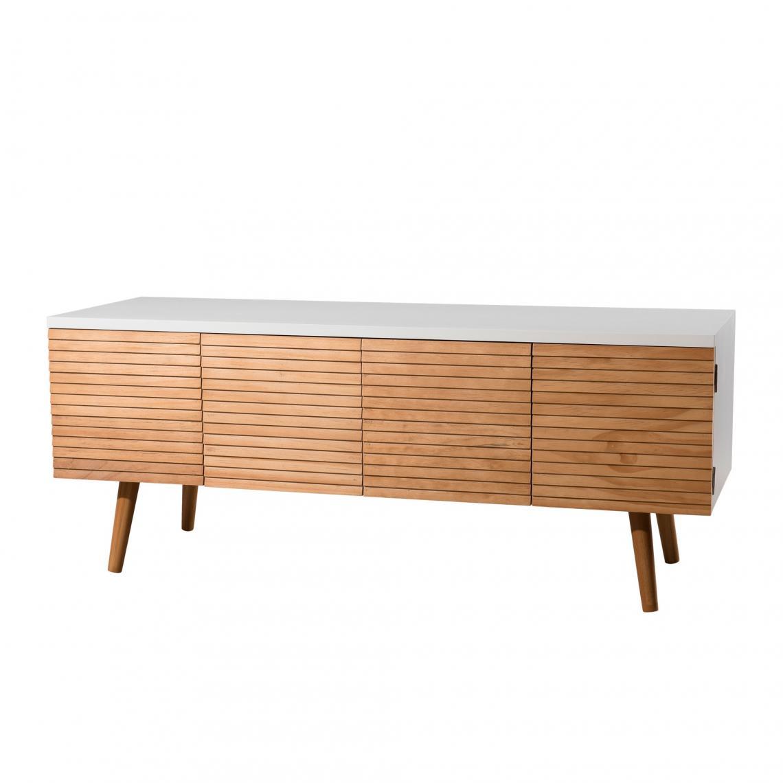 meuble tv 4 portes style scandinave miel blanc