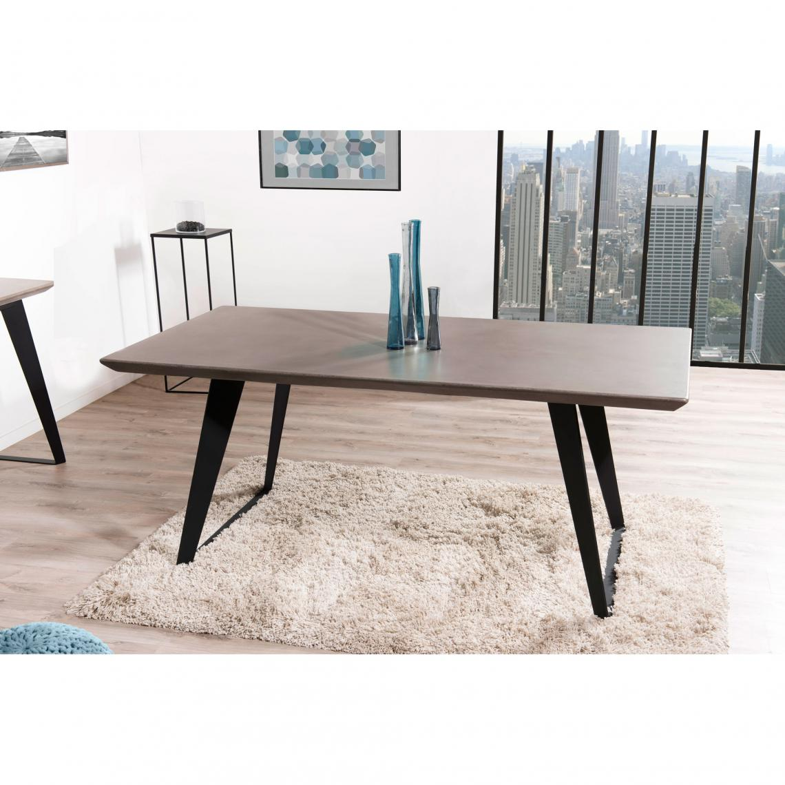 table manger rectangulaire beton cire pieds metal 180 x 90 cm style industriel