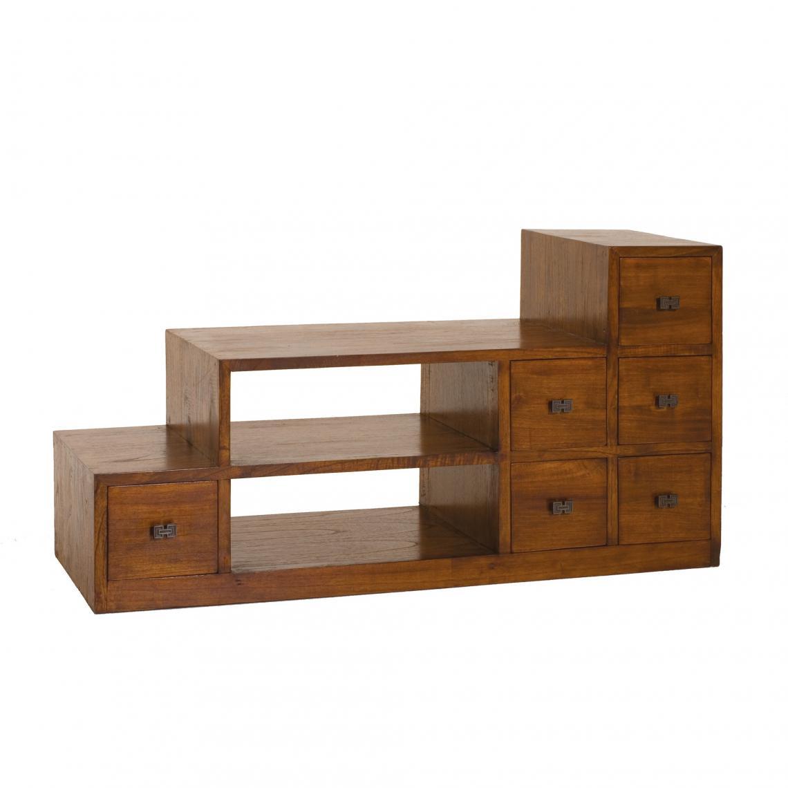 meuble tv escalier 2 niches 6 portes en bois midi unique