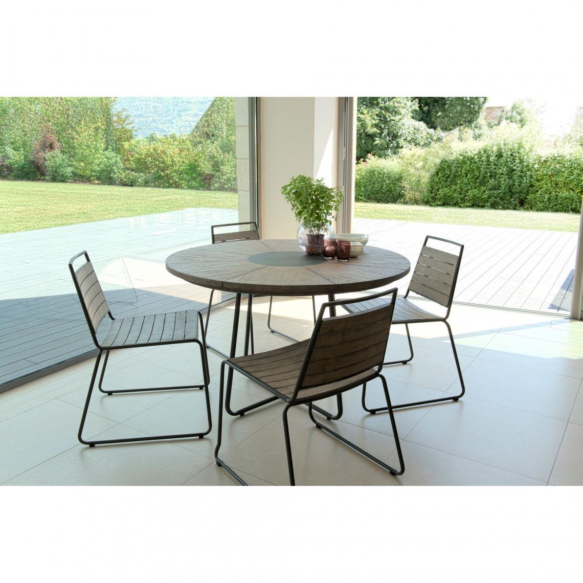 salon de jardin en bois teck grise 4 6 pers ensemble de jardin 1 table ronde 120 cm et 4 chaises empilables pieds metal