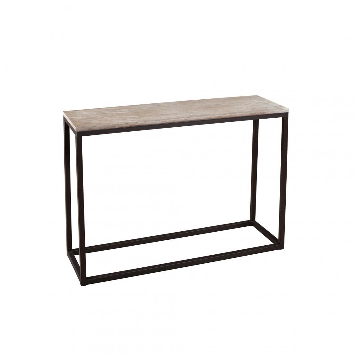 console rectangulaire style industriel bois