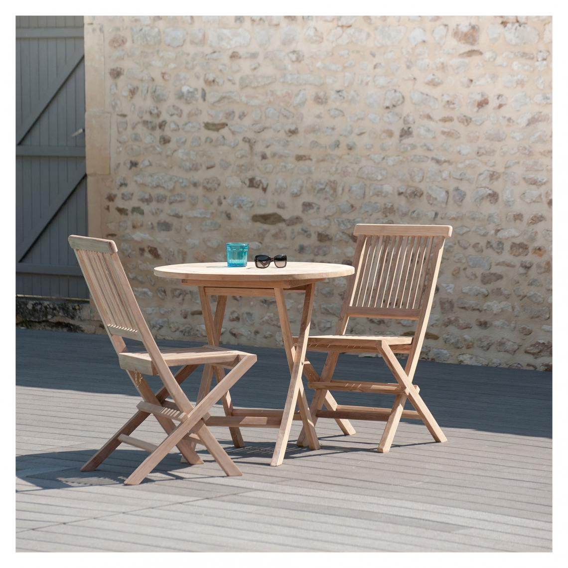 table ronde pliante 80 cm et 2 chaises