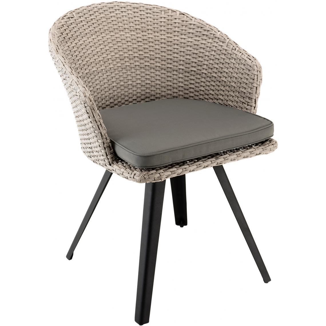 fauteuil rotin synthetique et metal coussin gris